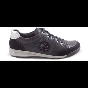 Ara Black Leather and Suede Lace-Up Casual Shoe